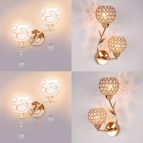 modern led crystal wall light glass lamp