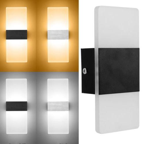 Modern LED Wall Light Up Down Cube Indoor Outdoor Sconces Li