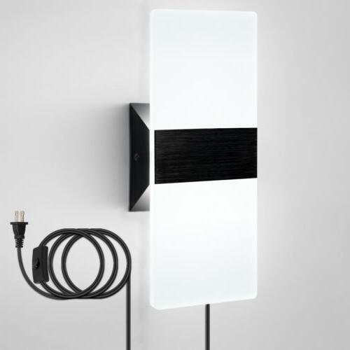 led wall light wall sconce plug in