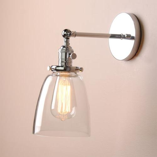 Modern Filament Wall Light Sconce Glass Shade Integrated