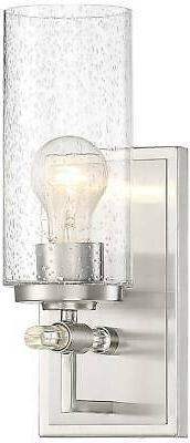 "Modern Wall Light Sconce Brushed Nickel 13"" Fixture Seedy Gl"