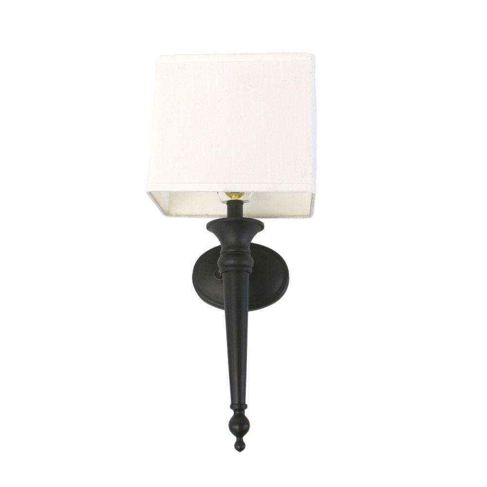 Mystic Black Wall Sconce With Fabric Shade Plug In Or Hard W