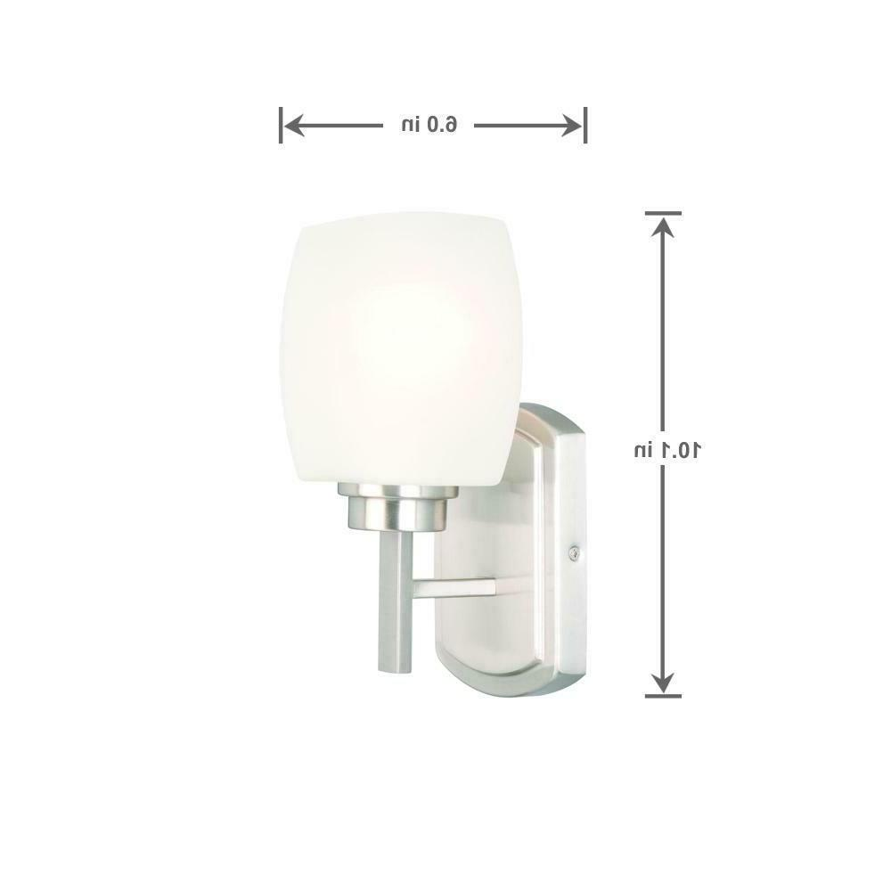 NEW Hampton Brushed Nickel Wall Sconce Frost Shade