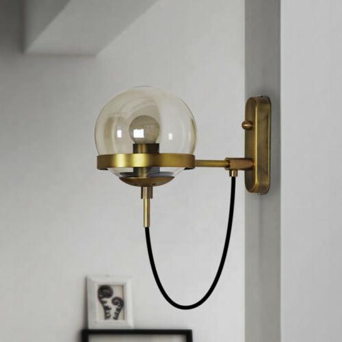Nordic Style Globe Wall Brass Retro Wall Light for Bedroom