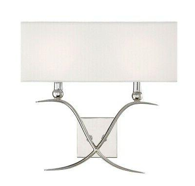 payton polished nickel two light wall sconce
