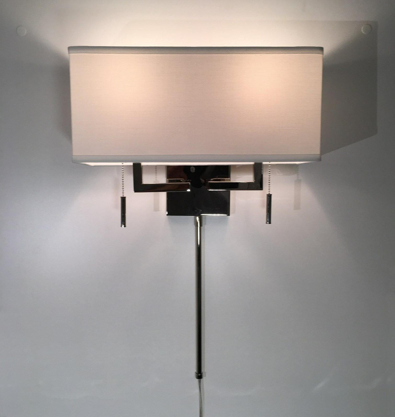Polished Modern Sconce with Rect.Shade, Hardwire or