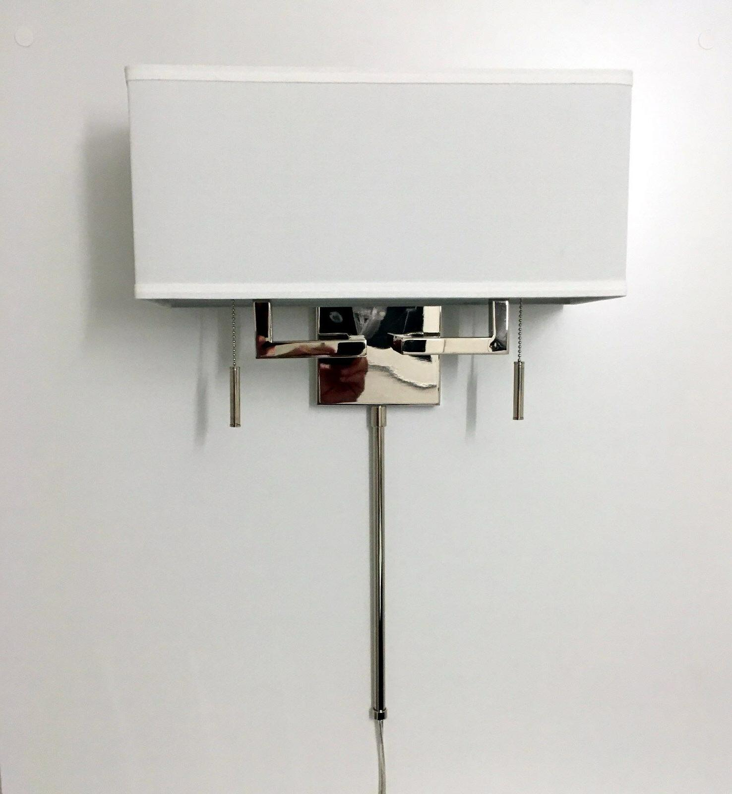 Polished Nickel Modern Wall Sconce Light with Rect.Shade, Ha