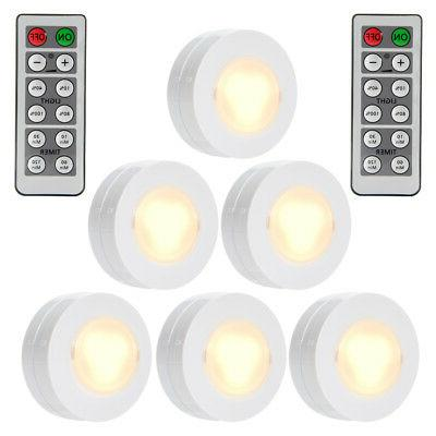 6 Pack LED Puck Under Cabinet Closet Lights Remote Controlle