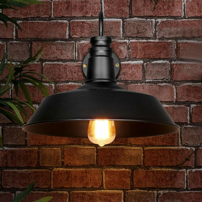 Retro Industrial Barn Style Wall Sconce Light with Metal