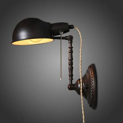 Retro Adjustable Plug In Wall Sconce Lamp Reading Wall Light