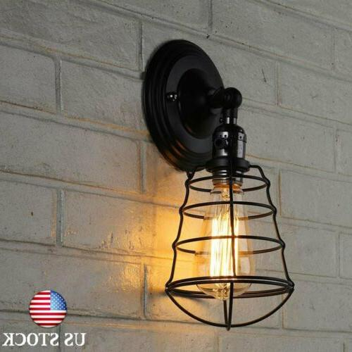 Industrial Retro Vintage Wall Sconce Wire Cage Wall Light Fi
