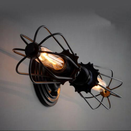 retro double heads vintage industrial wall light