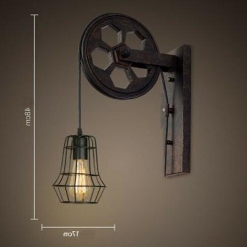 Retro Industrial Wall Sconce Lift Pulley