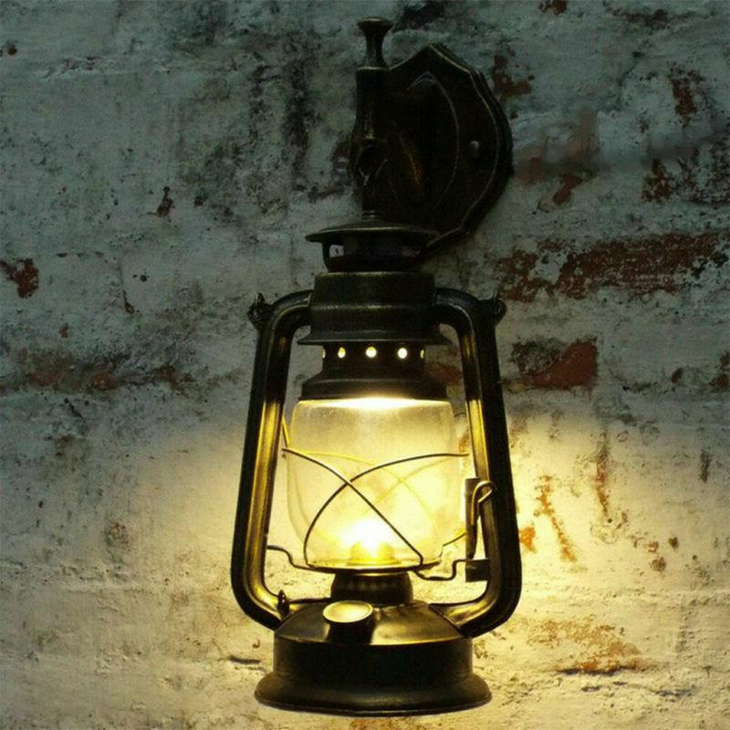 Wall Sconce Light Retro Lantern Vintage Rustic Lamp Fixture