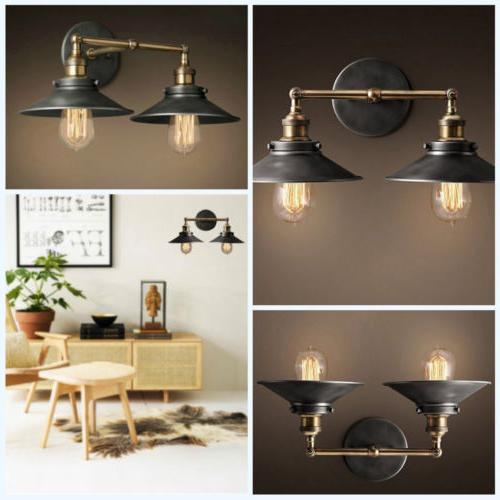 Retro Rustic Industrial Wall Light Double Lamp