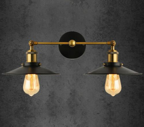 Retro Rustic Vintage Industrial Wall Light Double Sconce Lam
