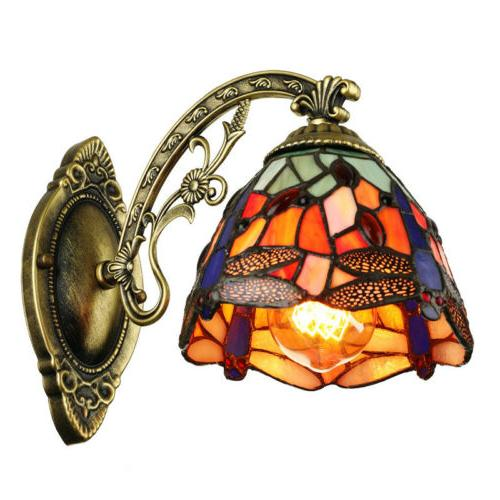 Tiffany Style Wall Sconce Lamp 1-Light Dragonfly Stained Gla