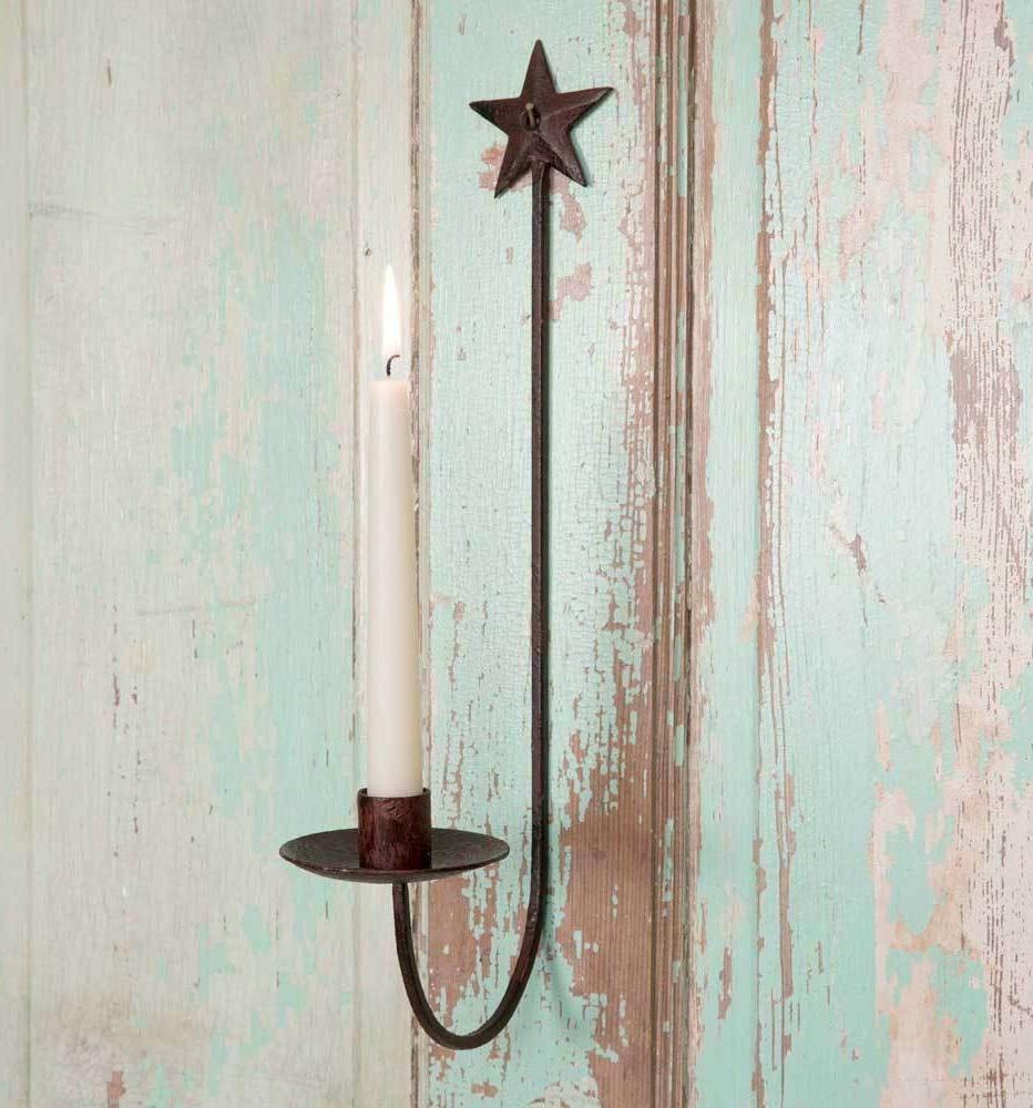 Rustic Vintage Country Style Star Wall Tapered Candle Holder