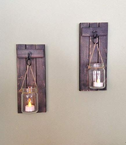 """Rustic Wall Decor, Sconce, Wall Candle Of Two, 12""""x5"""", in Weathered Black!"""