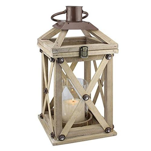 rustic wooden candle lantern
