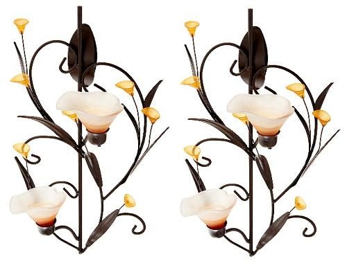 set of 2 amber lilies wall sconce