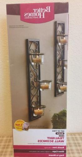 Set of Two Better Homes & Gardens Tealight Wall Sconces Blac
