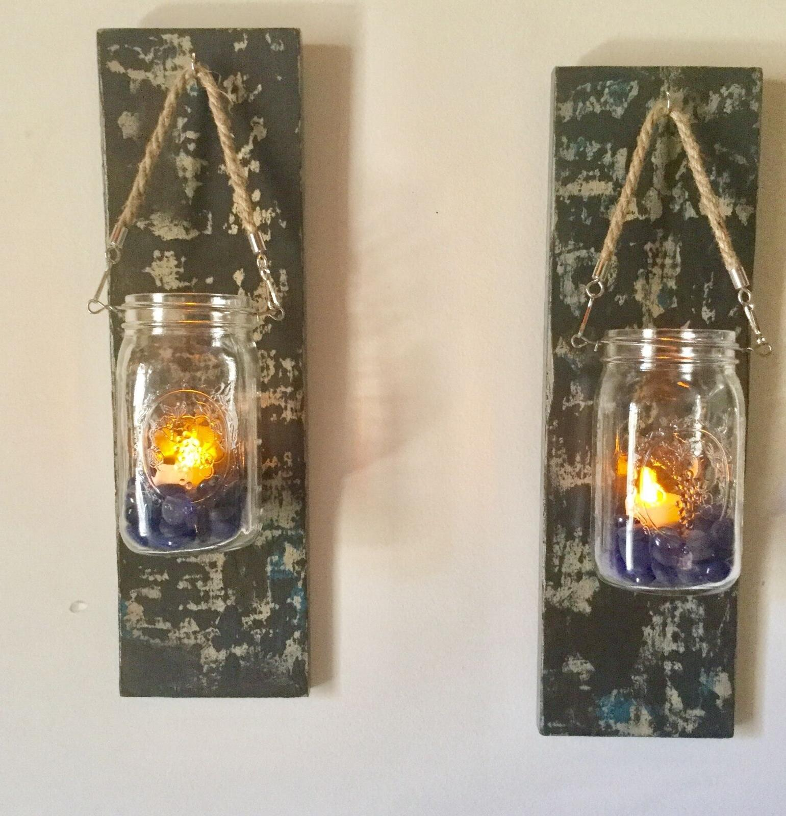 Set of Two CUTE Rustic Mason Jar Wall Sconce Country Decor W