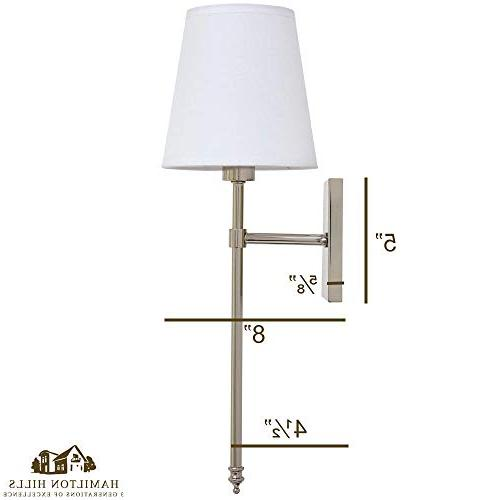 Single Traditional Extended Rod Wall Light with Fabric Shade Nickel Vanity Sconce LED