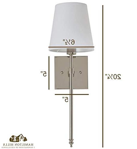 Single Traditional Wall with Shade   Polished Vanity Sconce with LED   Lighting