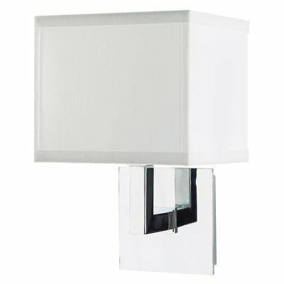 Sofia Wall Sconce Light - Chrome w/ White Fabric Shade - Lin