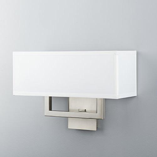 Linea Wall Sconce Two Lamp Brushed Nickel with White Fabric