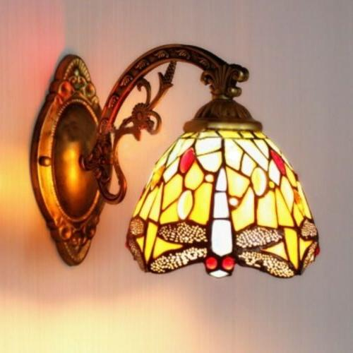 stained glass wall sconce fixture dragonfly wall