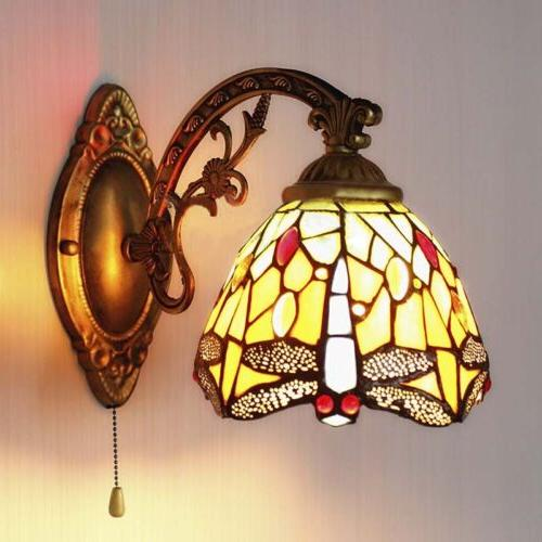 Stained Fixture Dragonfly Wall Light