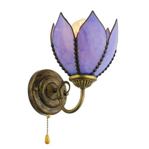 Tiffany Wall Sconce Flower Shape Stained Glass Wall Light Fi
