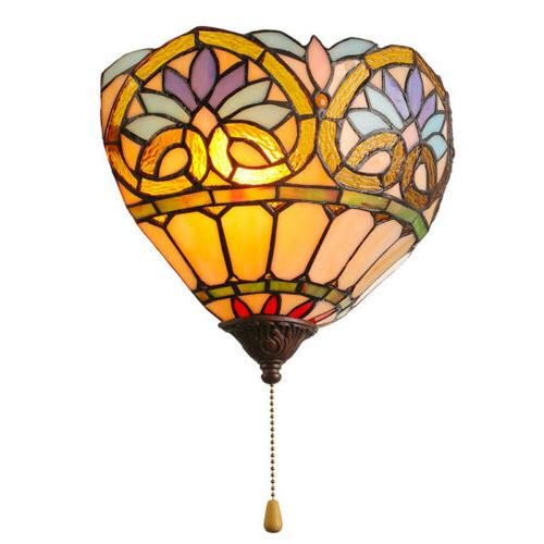 Tiffany Style Stained Glass 1-Light Wall Sconce Lamp Indoor