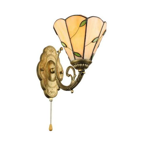 Tiffany Style Leaf Wall Sconce Amber Glass Wall Lamp with Pu