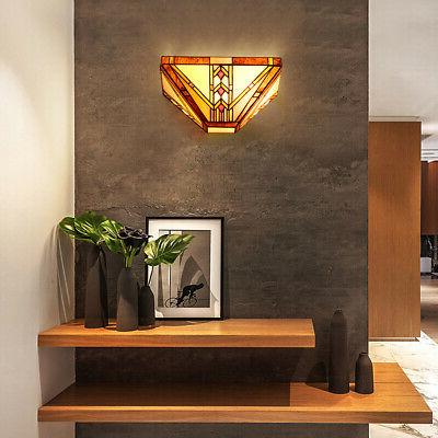 """Tiffany-Style Mission 1-Light Wall Sconce w/12"""" Wide Stained"""