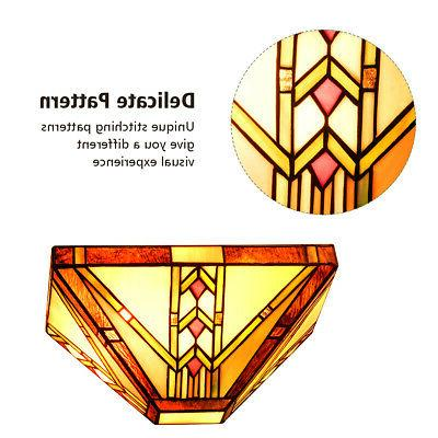 Tiffany-Style 1-Light Sconce Wide Stained Glass