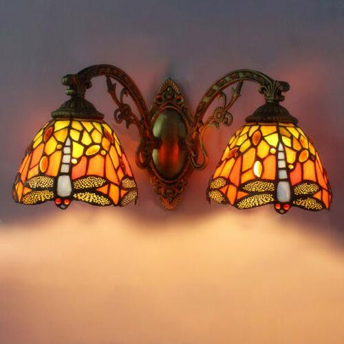 Tiffany Style Glass Sconce Double Mirror