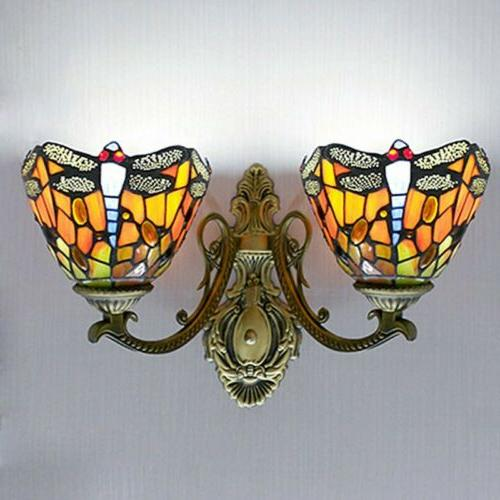 Tiffany Stained Glass Sconce Wall Lamp Double 110V