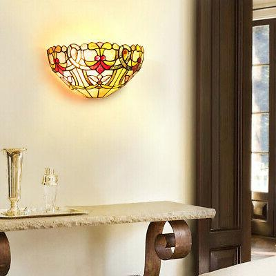 Tiffany-Style Victorian Sconce w/ Stained