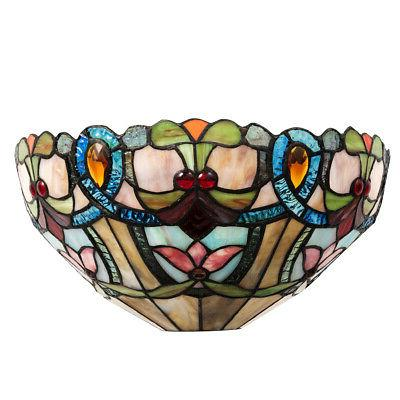 Tiffany-Style Victorian Wall Sconce Stained Glass