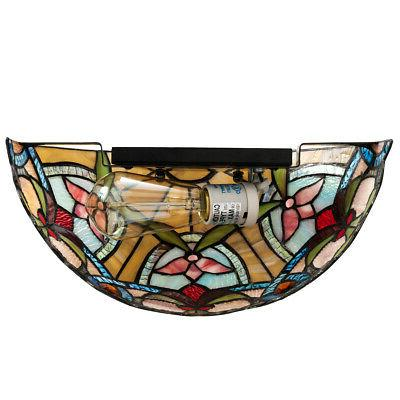 Tiffany-Style Sconce w/ Wide Stained Lampshade