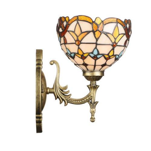 Baroque Stained Glass Bowl Shade Wall Lamp Tiffany Style Ret