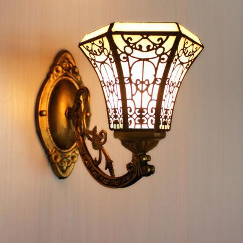 tiffany vintage stained glass wall light shade