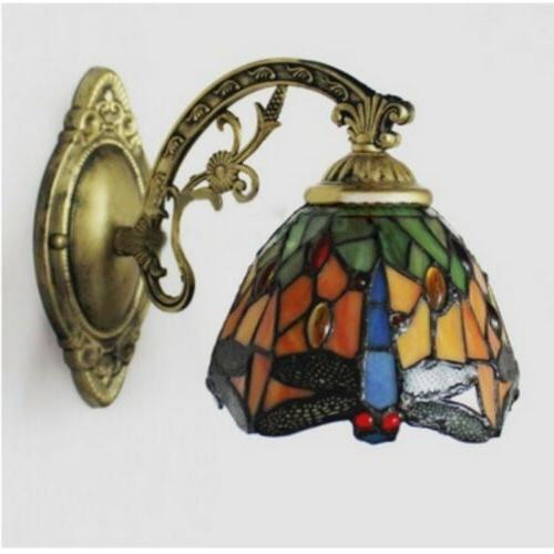 Stained Glass Sconce Fixture Dragonfly Hallway Lamp