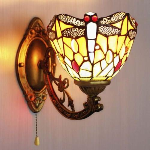 Stained Fixture Dragonfly Wall Hallway Room Lamp