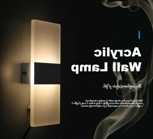 12W LED Modern Acrylic Wall Light Up Down Cube Indoor Sconce