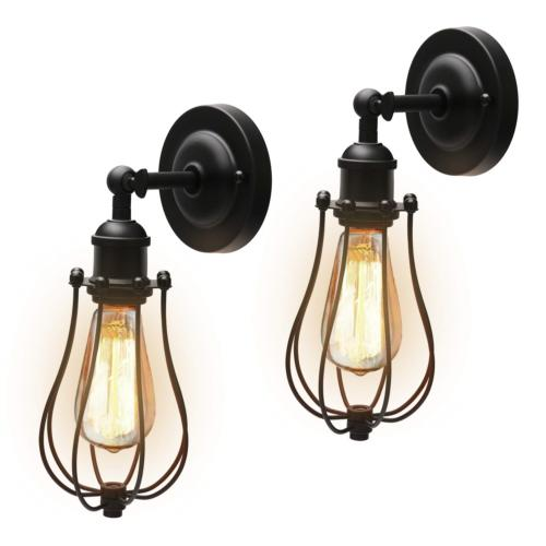 Upgrade Industrial Wire Cage Wall Sconces with Bulbs JACKYLE