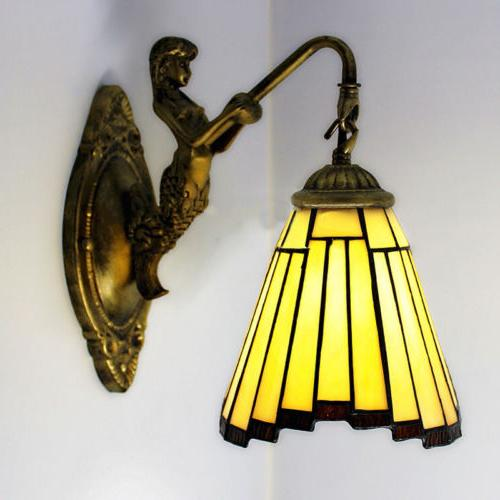 Victorian Style Stained Wall Fixture Hardwired Sconce